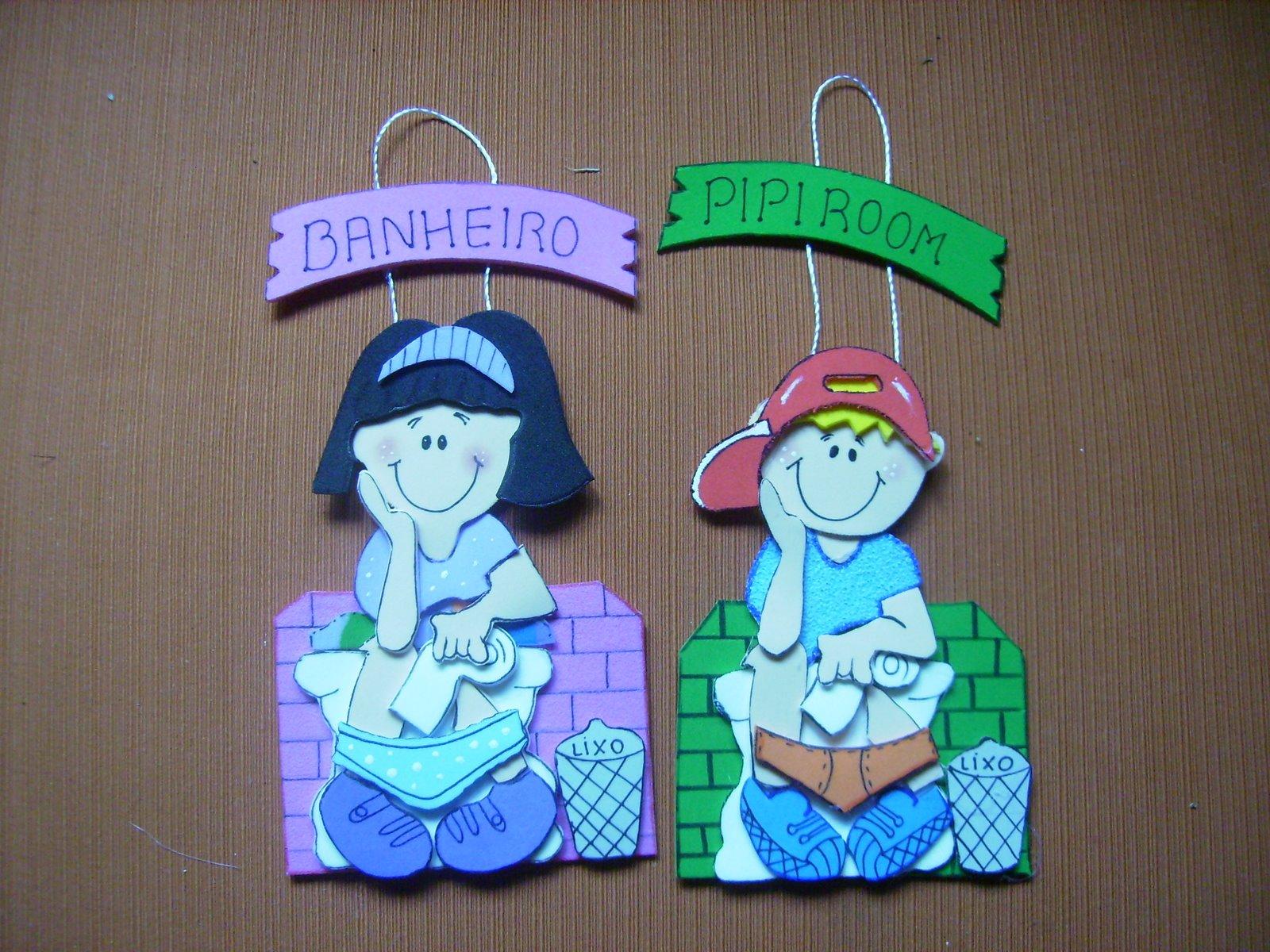 Plaquinha em eva para banheiro de Escola  Painel Criativo -> Decoracao De Banheiro Infantil Com Eva