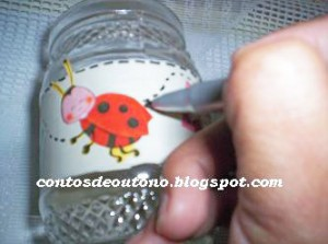 Pote de vidro com decoupage