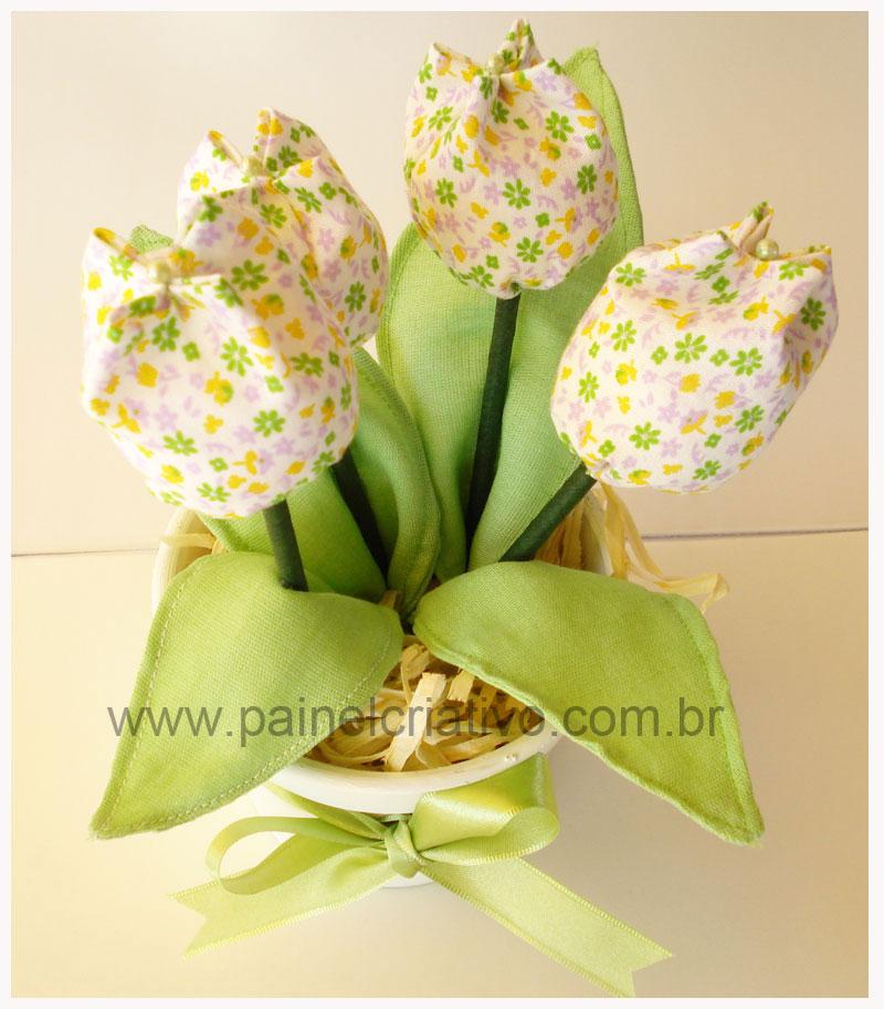 Lembrancinha Dia Das Maes Vasinho Flores Tulipa Tecido  1