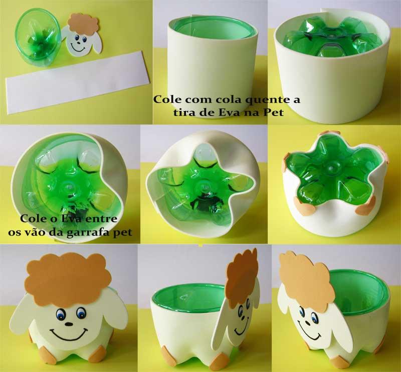 Reciclagem Lembrancinha Aniversario Potinho Animais Garrafa Pet Eva  8