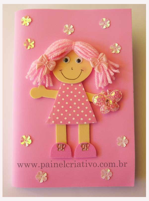 Modelo de capa para caderno de menina