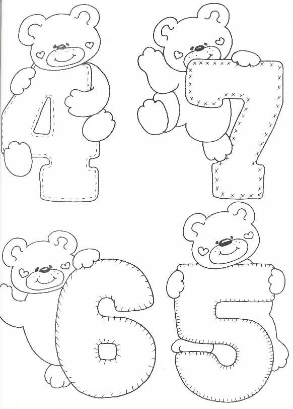 Desenhos Numeros Ursinho Escola  2