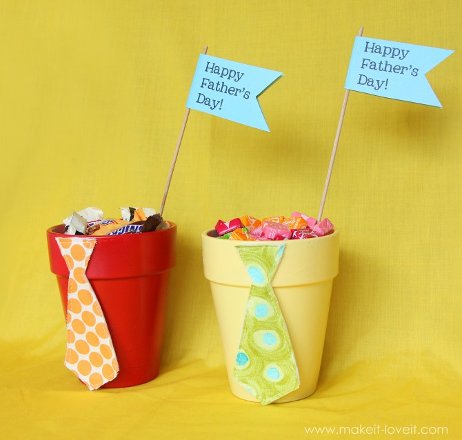 Father's Day Tie Pots Filled Candy