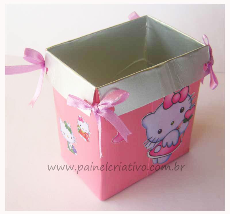 Pap Reciclagem Lembrancinha Aniversario Caixinha De Leite O Kitty