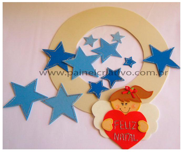 Natal Guirlanda do Anjinho em EVA Painel Criativo -> Decoração Em Eva Natal