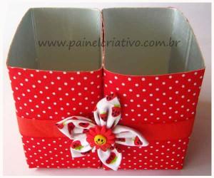 Artesanato com Reciclagem: porta trecos com caixa de leite