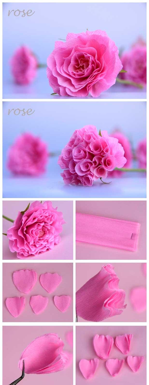 Como Fazer Rosa de Papel Crepom Painel Criativo -> Decoração De Festa Com Papel Crepom Passo A Passo