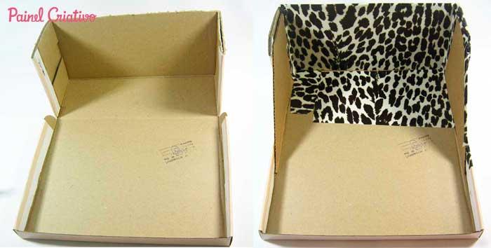 como fazer organizador maquiagem papelao caixa sapato  (1)