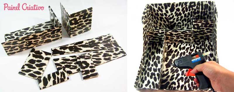 como fazer organizador maquiagem papelao caixa sapato  (3)