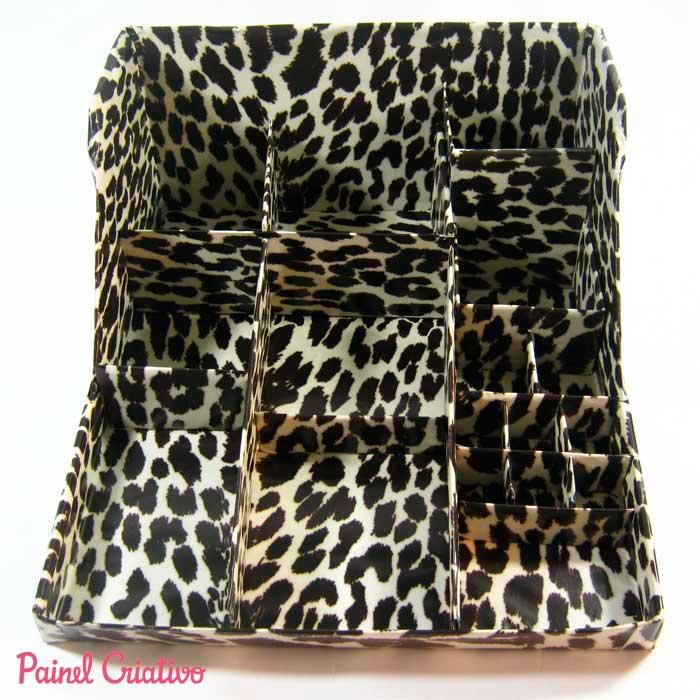 como fazer organizador maquiagem papelao caixa sapato  (4)