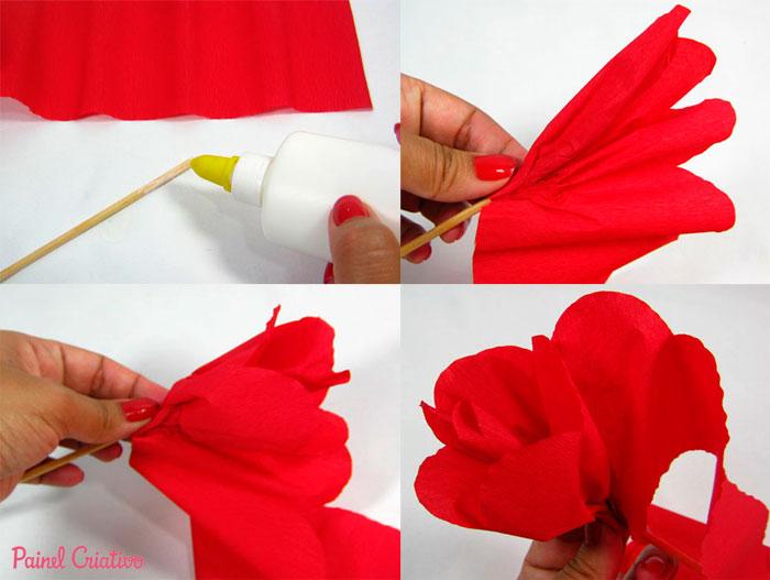 como fazer flor papel crepom deoracao casa festa junina aniversario  (2)