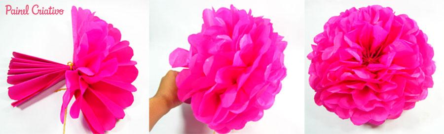 como fazer pompons papel de seda decoracao festa aniversario casamento batizado (3)