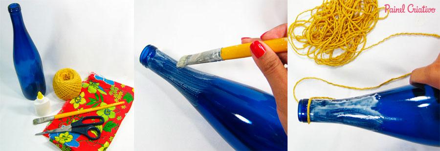 passo a passo centro de mesa festa junina garrafa de vidro decorada  barbante recicalgem (1)