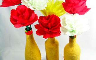 passo a passo centro de mesa festa junina garrafa de vidro decorada  barbante recicalgem (6)