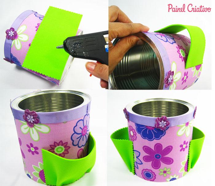 como fazer latinhas forrada tecido porta trecos  (2)