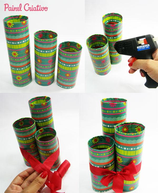como fazer porta lapis tubo papel aluminio toalha rolinho papel higienico (4)