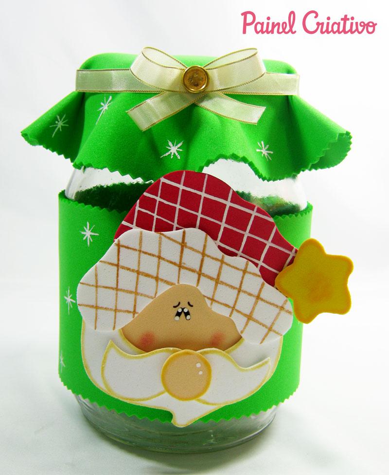como fazer pote vidro decorado natal reciclagem eva papai noel rena boneco de neve (1)