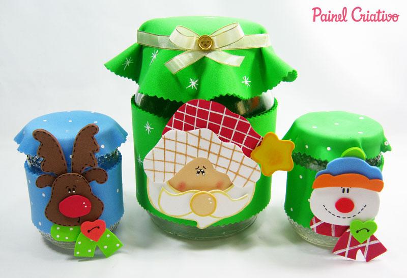 como fazer pote vidro decorado natal reciclagem eva papai noel rena boneco de neve (8)