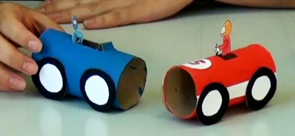 reciclagem como fazer carrinho rolinho papel higienico brinquedo reciclado