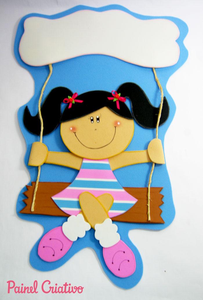 Enfeite de porta em eva para as meninas painel criativo for Porta kinder