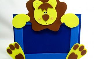 como fazer porta retrato leaozinho eva decoracao quarto menino safari maternidade (1)