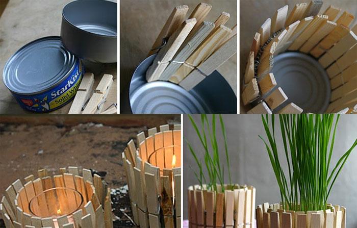 ideia decoracao pregador de  roupa casa vasinhos porta velas