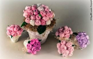 video como fazer lembrancinha mini vasinho flores de tecido casamento batizado festa 15 anos aniversario (2)