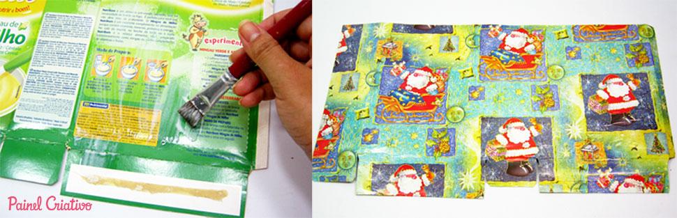 como fazer sacolinha presente natal reciclagem caixa cereal (2)