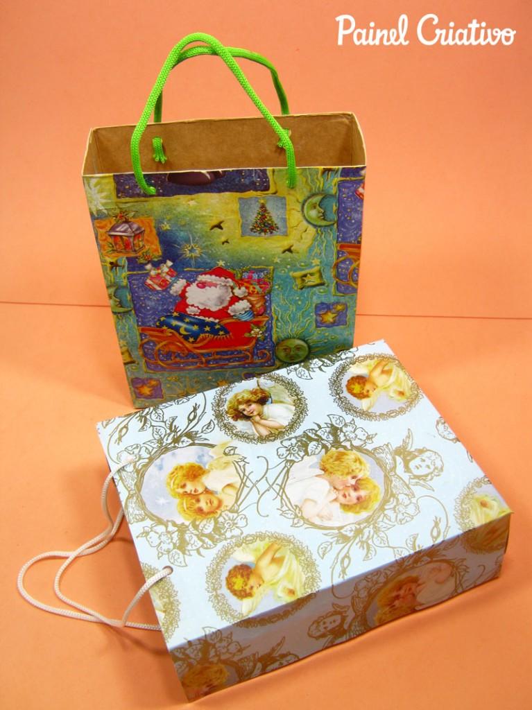 como fazer sacolinha presente natal reciclagem caixa cereal (4)