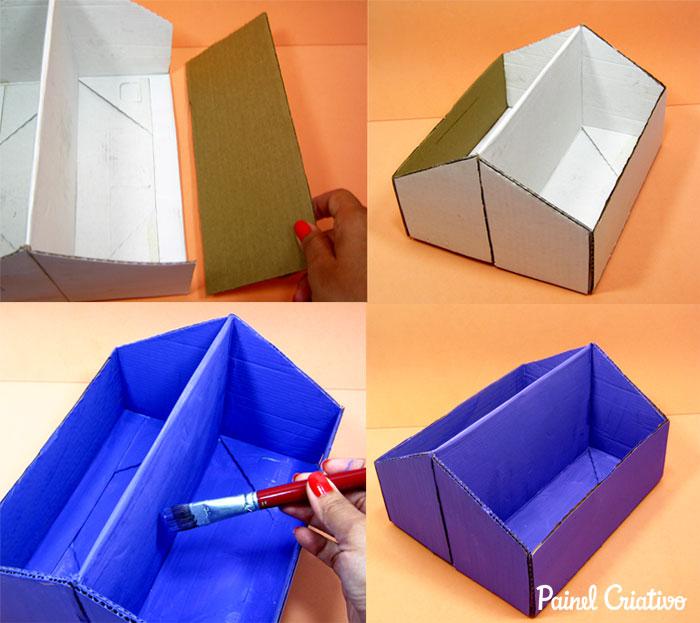 como fazer porta revista livros porta trecos caixa de sapato (2)