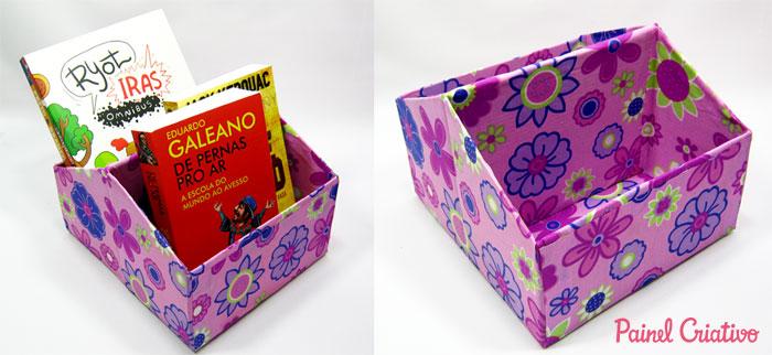 como fazer porta revista livros porta trecos caixa de sapato forrado tecido (4)