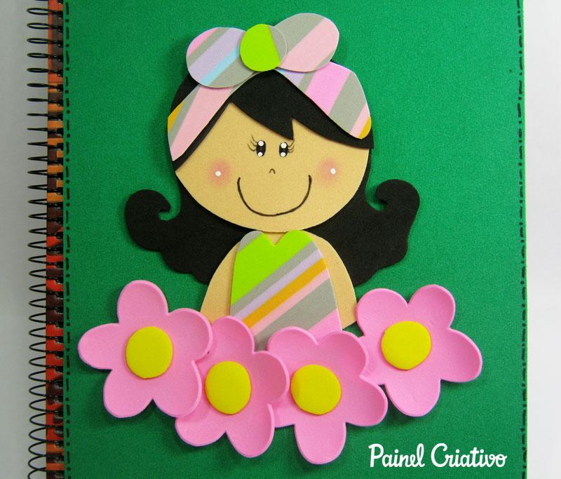 como fazer capa de caderno agenda diario eva meninas escola  (1)