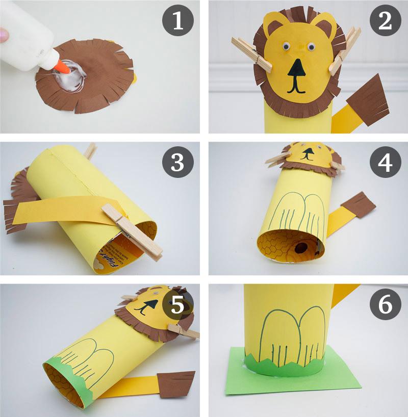 como fazer leaozinho caixa de cereal papel atividade alunos sala de aula educacao infantil reciclagem (4)