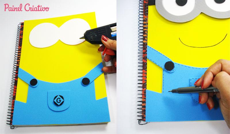 como fazer capa caderno eva minions meu malvado favorito meninos escola (5)