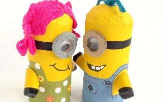 como fazer bonequinho minions rolinho papel higienico reciclagem brinquedo crianca escola sala de aula (2)