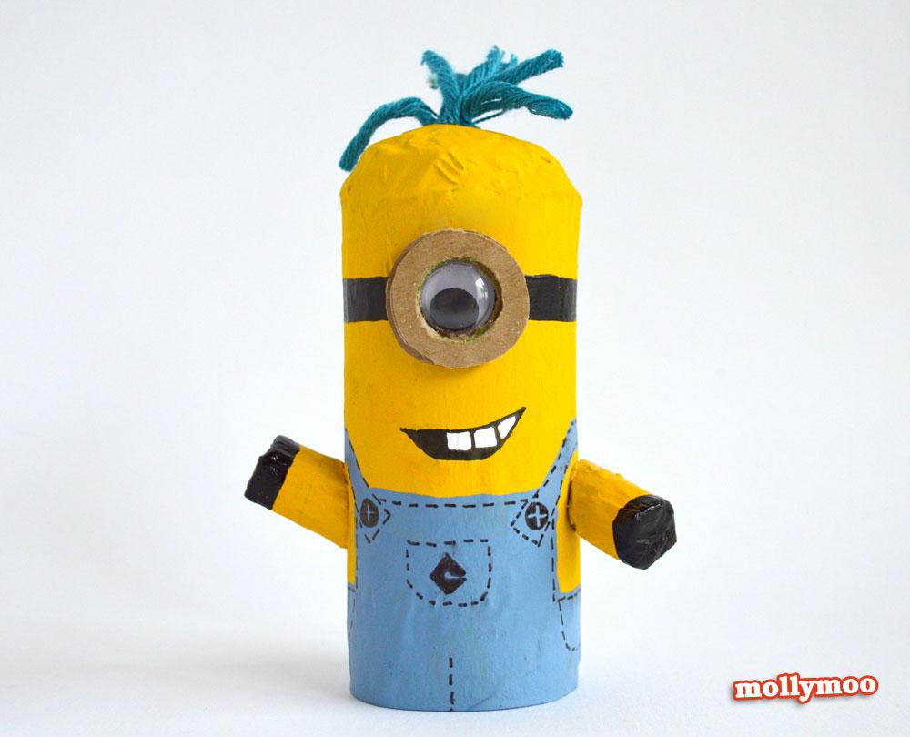 como fazer bonequinho minions rolinho papel higienico reciclagem brinquedo crianca escola sala de aula (5)
