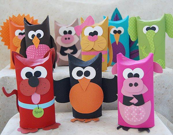 como fazer bichinhos rolinho papel higienico reciclagem sala de aula criancas brinquedo reciclado (6)