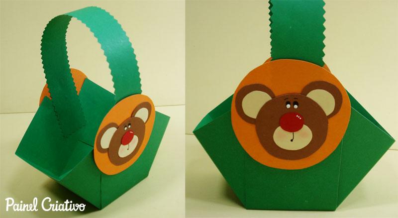 modelo de cestinha ursinho lembrancinha porta guloseima dia das criancas volta as aulas aniversario feita cartolina papel scrapbook celofane (1)