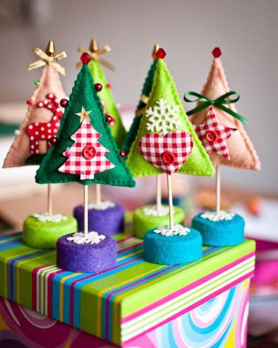 modelos enfeites decoaracao casa ceia natal arvore natal feltro(2)