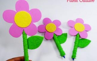 modelo lembrancinha dia dos prodessores dia das maes EVA flor caneta  (2)