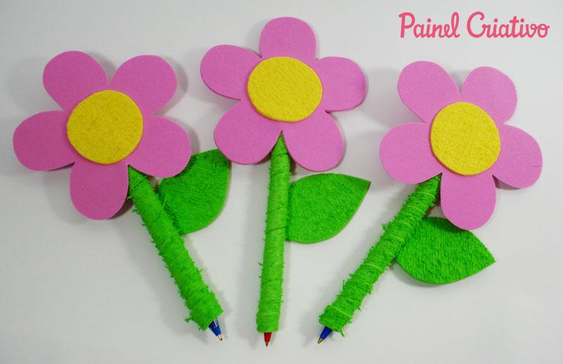 modelo lembrancinha dia dos professores dia das maes EVA flor caneta  (1)