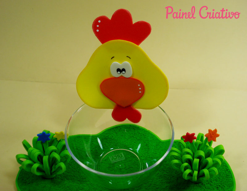 como fazer enfeite de mesa EVA festa aniversario fazendinha criancas galinha vaquinha (2)