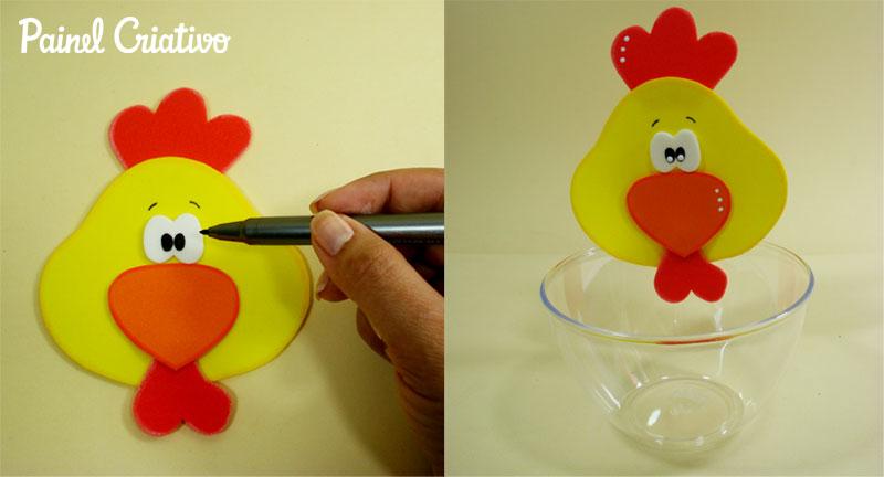 como fazer enfeite de mesa EVA festa aniversario fazendinha criancas galinha vaquinha (7)