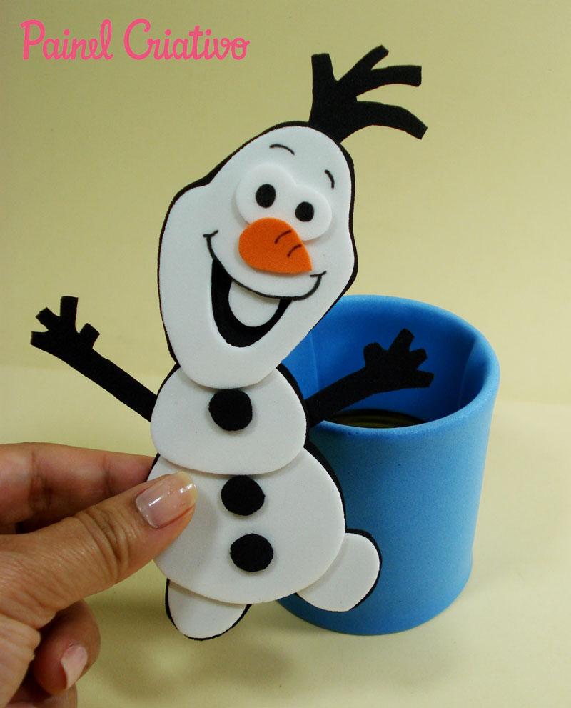 como fazer lembrancinha aniversario frozem  boneco Olaf porta guloseima EVA e latinha criancas festinha infantil (4)