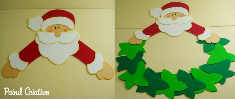 como fazer enfeite natal guirlanda papai noel decoracao casa sala de aula escola EVA (1)