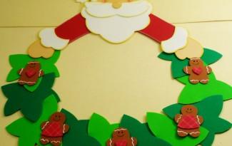 como fazer enfeite natal guirlanda papai noel decoracao casa sala de aula escola EVA (4)