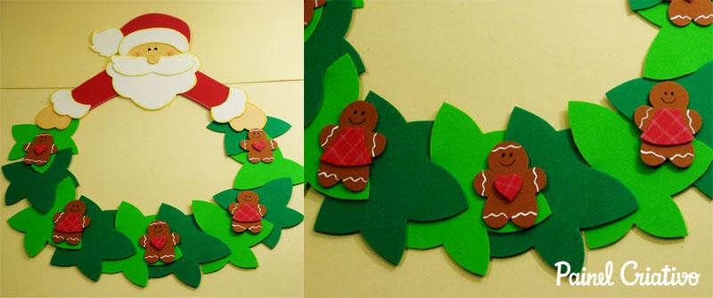 como fazer enfeite natal guirlanda papai noel decoracao casa sala de aula escola EVA (5)