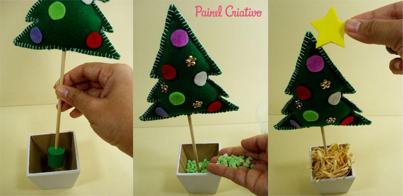 como fazer mini arvore de natal decoracao casa mesa trabalho escola lembrancinha natalina feltro (1)