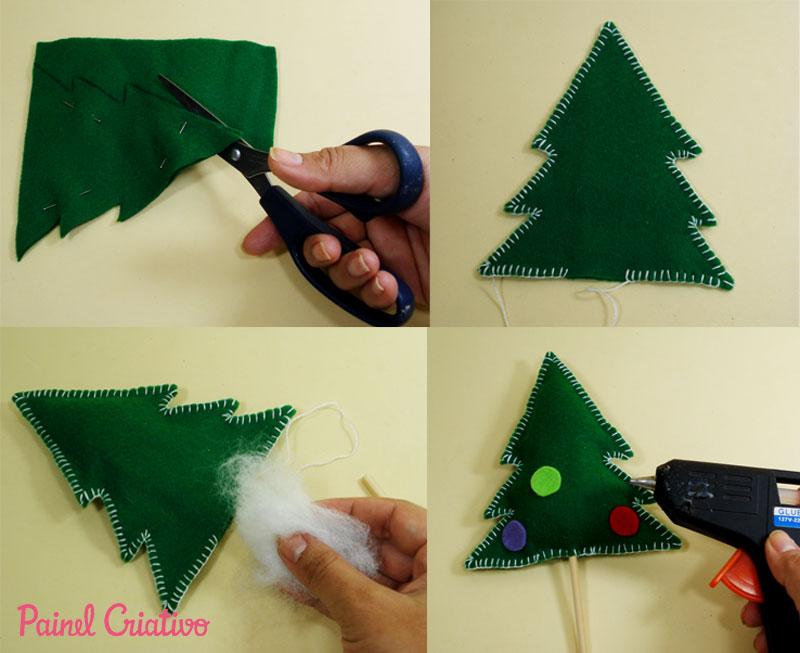 como fazer mini arvore de natal decoracao casa mesa trabalho escola lembrancinha natalina feltro (2)