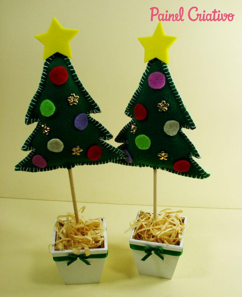 como fazer mini arvore de natal decoracao casa mesa trabalho escola lembrancinha natalina feltro (3)